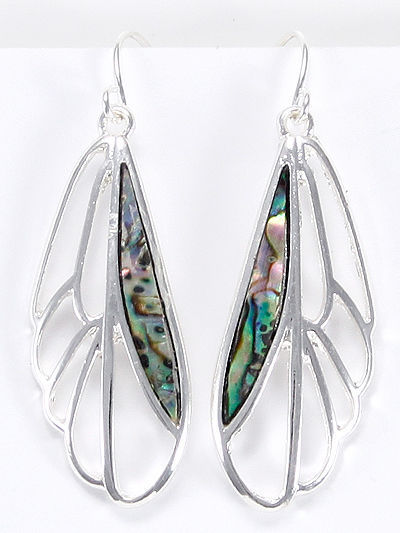 Silver Tone Dragonfly Wings Drop Dangle Abalone Accent Earrings