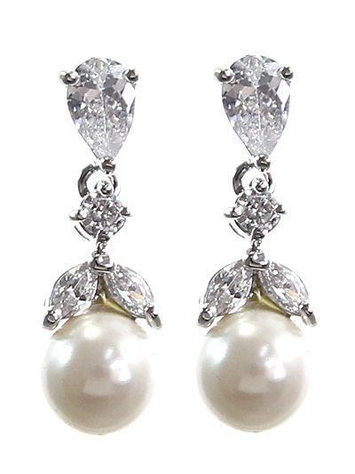 Classic CZ Pearl Dangle Drop Earrings
