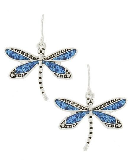 Dragonfly Dangle Drop Blue Turquoise Glitter Silver Fashion Jewelry Earrings