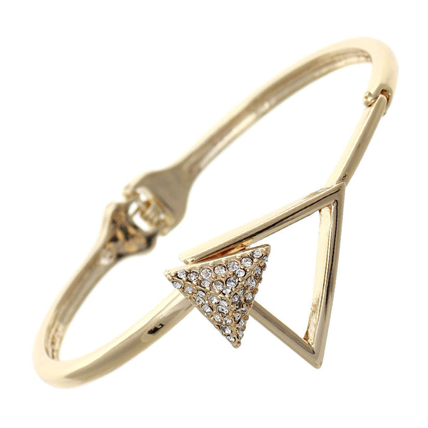 Crystal Double Triangle Hinged Bangle Cuff Bracelet