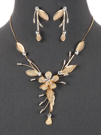 Crystal Rhinestone Flower Statement Y Necklace Earrings Set