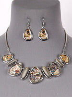 Abalone Shell Silver Tone Women Statement Necklace Earrings Set