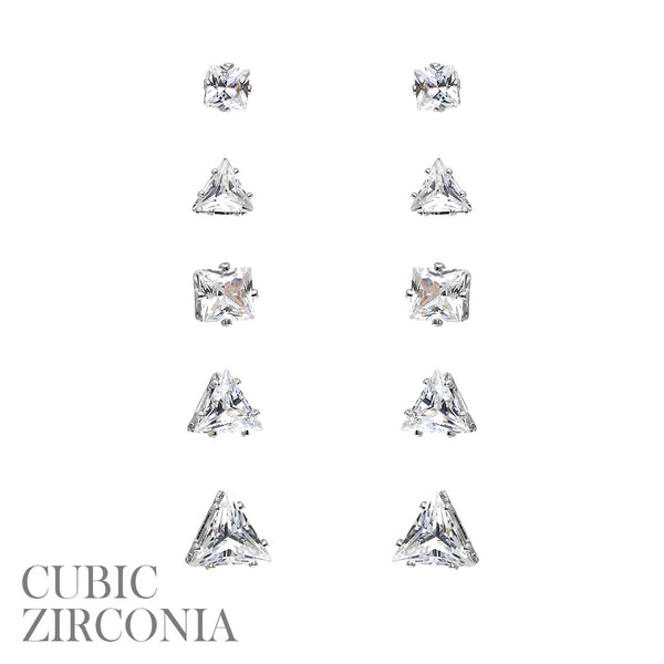 5 Pair CZ Square Triangle Stud  Earrings