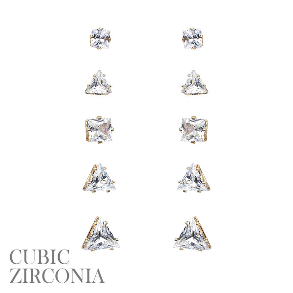 5 Pair CZ Square Triangle Stud Earring Set