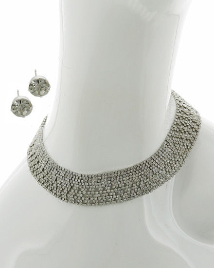 Crystal Rhinestone Choker Statement Necklace Earring Set