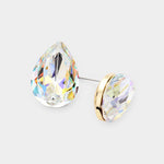 AB Aurora Borealis Glass Crystal Teardrop Stud Gold Tone Fashion Earrings