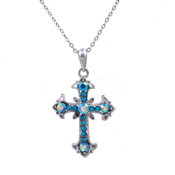 AB Aurora Borealis Rhinestone Aqua Blue Cross Pendant Necklace