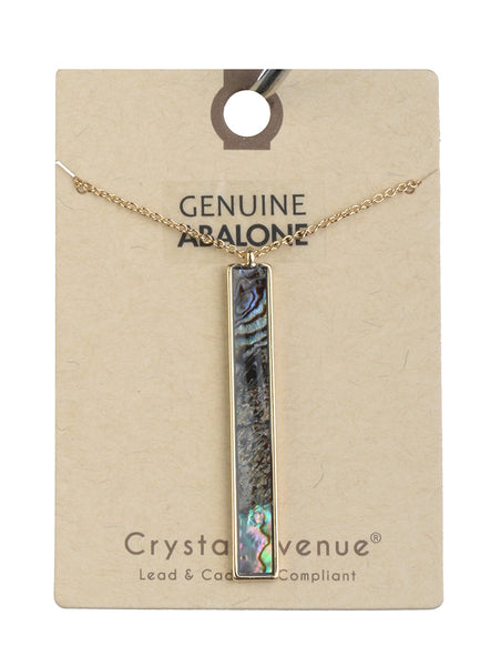 Genuine Abalone Rectangle Bar Drop Necklace - Gold Tone