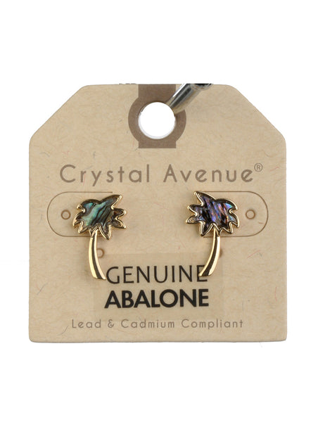 Abalone Palm Tree Shell  Minimalist Earrings - Gold Tone
