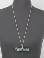 Abalone 3D Lucky Dragonfly Pendant Long Costume Fashion Necklace