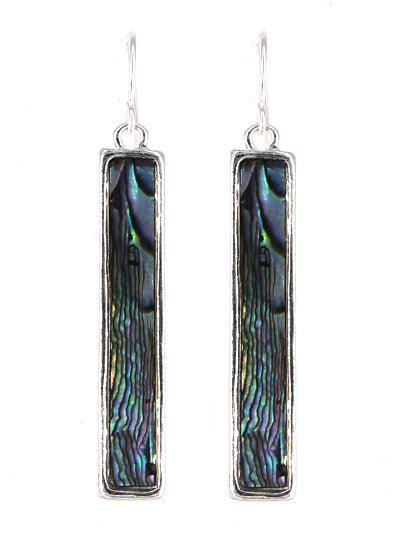 Abalone Bar Vertical Drop Earrings