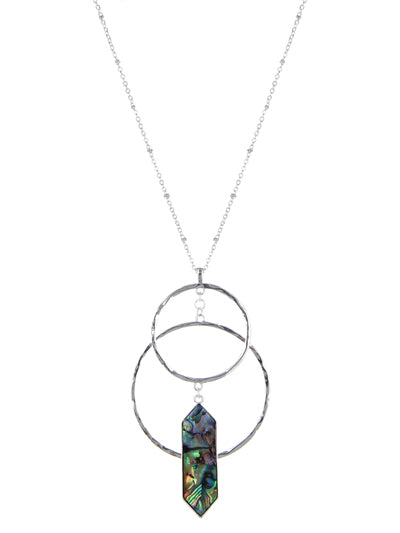 Abalone Geo Double Hoop Long Fashion Costume Necklace