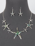 Abalone Shell Accent Sea Life Starfish Necklace Earrings Set