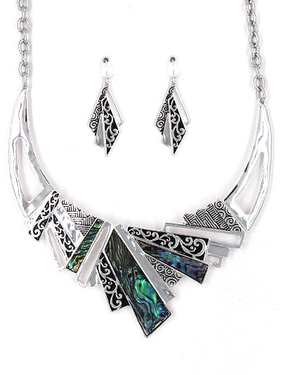 Abalone ShellFiligree Abstract Silver Necklace Earring Set New Fashion Jewelry