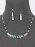 Abalone Shell Necklace Earrings Silver Tone Women Fashion Jewelry Set