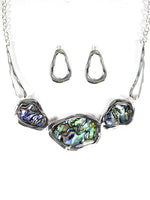 Abalone Shell Statement Silver Tone Necklace Earrings Fashion Jewelry Set