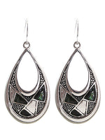 Abalone Textured Teardrop Dangle Drop Silver Tone Earrings