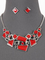 Akako Red Statement Necklace Set