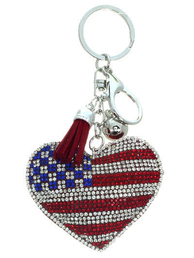 American Flag Heart Tassel Key Chain Handbag Accessory