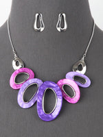 Aurora Link Fashion Necklace Set - Purple Pink