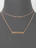 Doubled Layered Bar Minimalist Necklace - Gold Tone