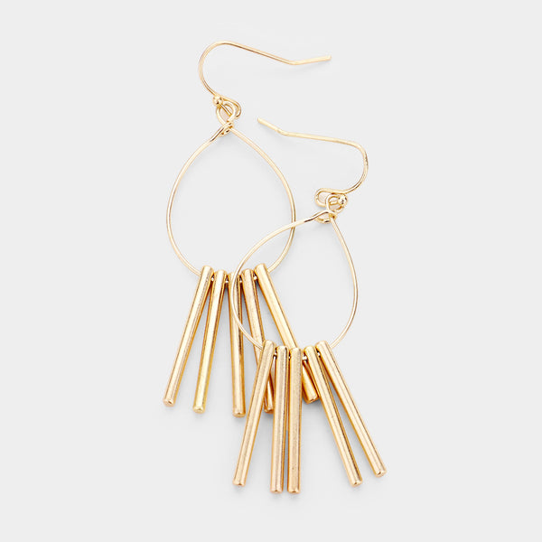 Metal Bar Drop Dangle Worn Gold Tone Boho Fashion Earrings