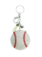 Baseball Rhinestone Ornament Key Chain Handbag Charm Accessory