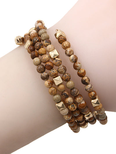 Boho Beaded Wired Wrap Coil Bracelet - Brown & Gold