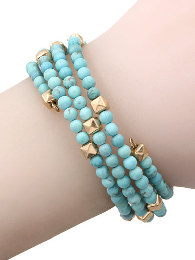 BeadedBoho Wired Wrap Coil Bracelet - Turquoise & Gold
