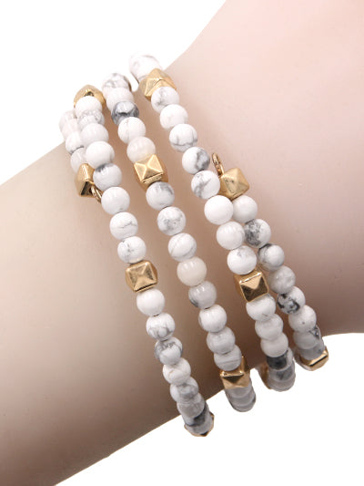 Boho Beaded Wired Wrap Coil Bracelet - White & Gold