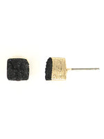 Black Druzy Stone Gold Tone Square Stud Earrings