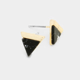 Black Howlite Triangle Stud Earrings