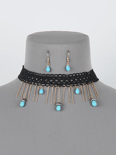 Black Lace Choker Blue Turquoise Colored Beads Necklace Earring