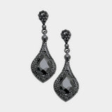 Black Rhinestone Pave and Crystal Teardrop Evening Earrings