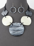 Black and White Chunky Multi Disc Statement Necklace Set