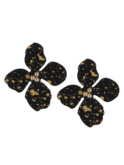 Bloom Flower Stud Fashion Black and Gold Earrings