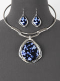 Statement Blue Chunky Boho Hammered Choker Fashion Necklace Earrings Jewelry Set