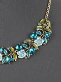 Blue Floral Statement Fashion Necklace Set