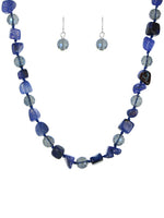 Blue Glass Gemstone Strand Fashion Necklace Set