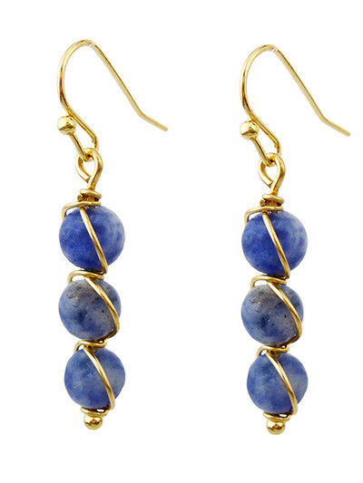Blue Natural Stone Bead Graduating Drop Dangle Wire Wrap Earrings