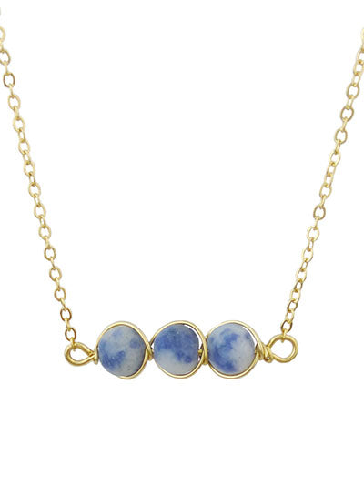 Blue Stone Gold Tone Chain Necklace