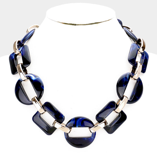 Blue and Gold Classic Chunky Link Collar Bib Necklace