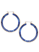 Blue and Gold Round Hoop Retro Vintage Mod Earrings