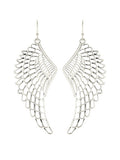 Boho Angel Wing Long Earrings - Matte Worn Silver Tone
