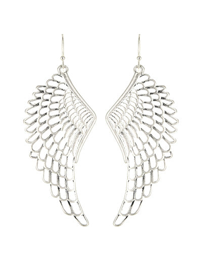 BohoBoho Angel Wing Long Earrings - Matte Worn Silver Tone