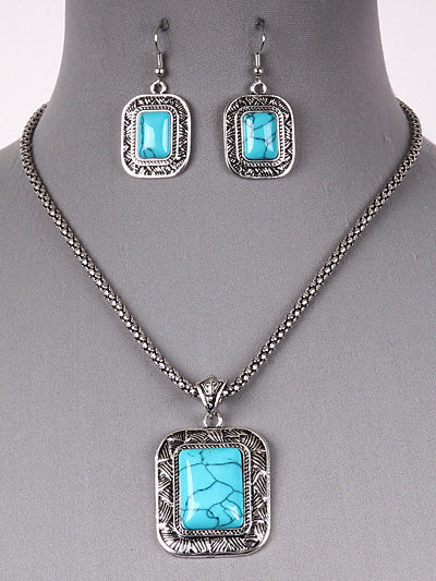 Boho Chic Square Beaded Turquoise Blue Necklace Earring Set