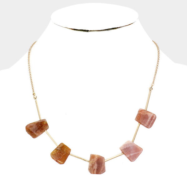 Brown Abstract Natural Stone Station Fashion Necklace