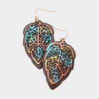 Burnished Patina Leather Metal Leaf Earrings