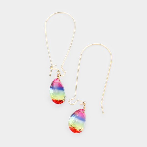 Candy Crystal Drop Long Hook Earrings