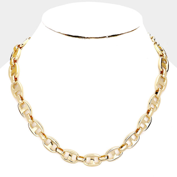 Oval Link Collar Necklace - Gold Tone